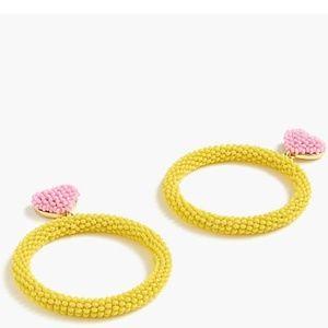 Jcrew x Alison Lou beaded heart drop hoop earrings